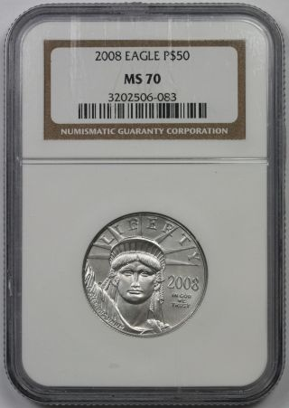 2008 Statue Of Liberty Half - Ounce Platinum American Eagle $50 Ms 70 Ngc photo