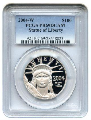 2004 - W Platinum Eagle $100 Pcgs Pr69 Dcam Statue Liberty 1 Oz photo