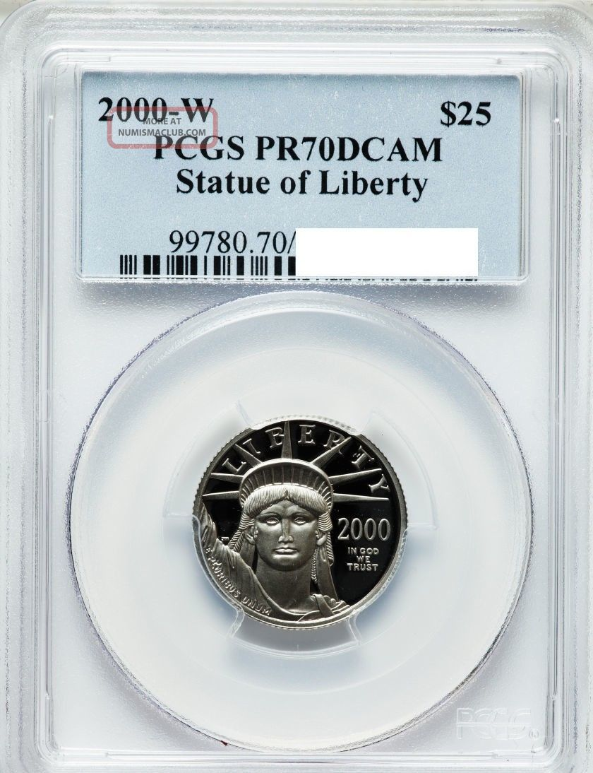 $25 1/4oz Platinum Eagle 2000 W Pcgs Pr70dcam Perfect Grade Platinum photo