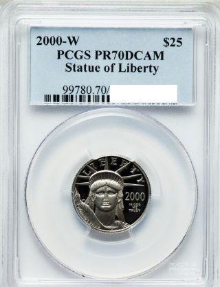 $25 1/4oz Platinum Eagle 2000 W Pcgs Pr70dcam Perfect Grade photo