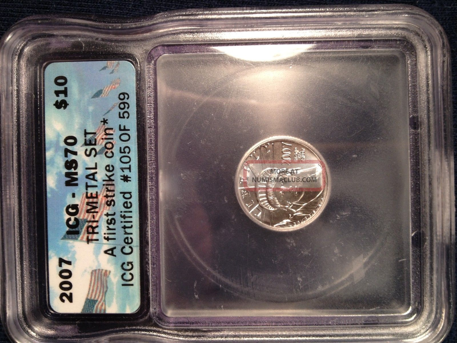 2007 First Strike Platinum 1/10 Oz American Eagle Ms70 Graded Icg Liberty Slab Platinum photo