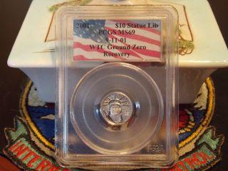 2001 $10 Platinum Eagle Pcgs Ms69 Wtc World Trade Center Recovery Wtc 911 photo