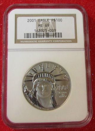 2001 Platinum American Eagle 1oz - $100 Ngc M69 - Only 14,  070 Minted - Rare photo