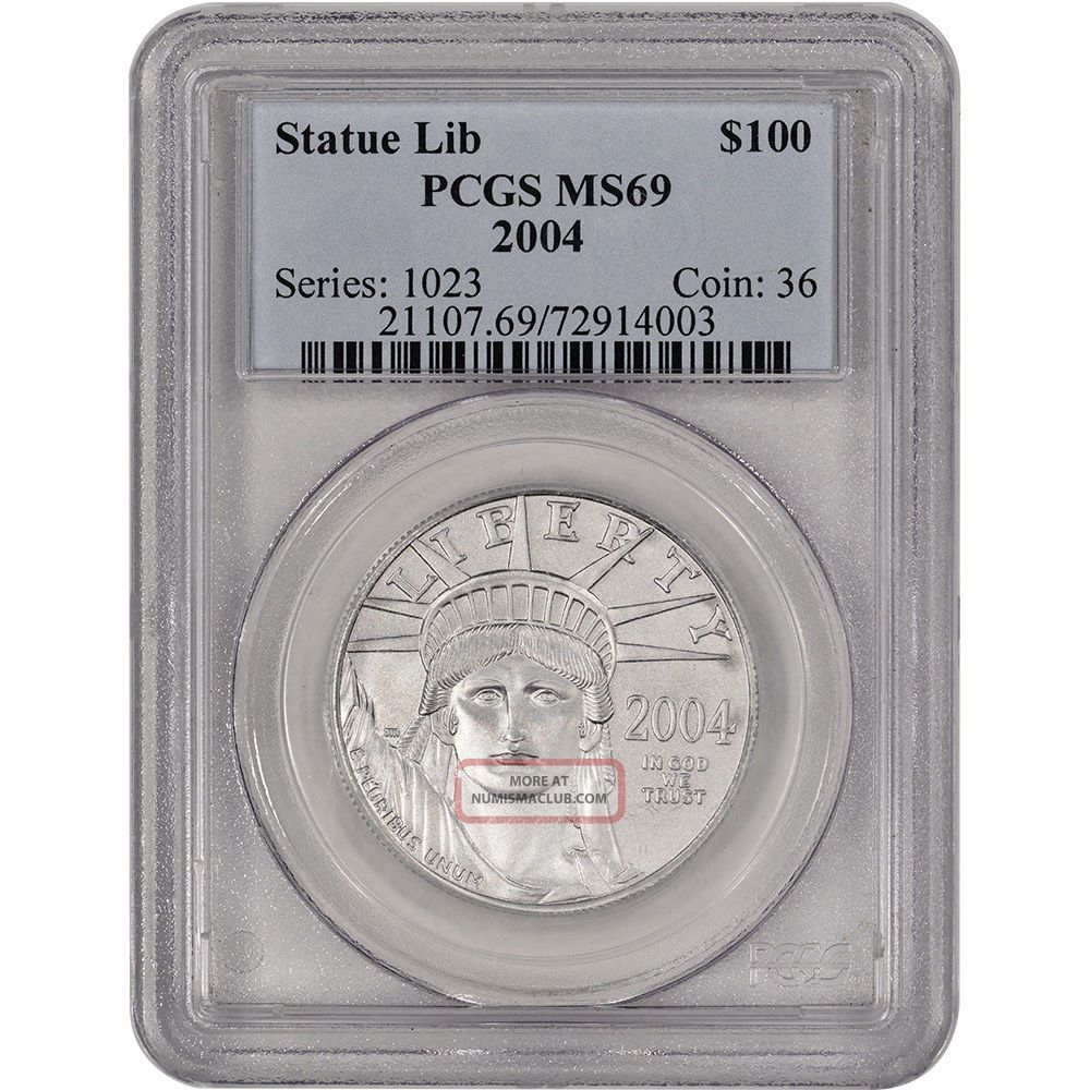 2004 American Platinum Eagle (1 Oz) $100 - Pcgs Ms69 Platinum photo