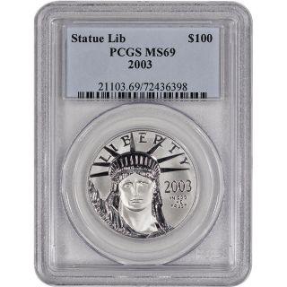 2003 American Platinum Eagle (1 Oz) $100 - Pcgs Ms69 photo