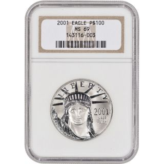 2001 American Platinum Eagle (1 Oz) $100 - Ngc Ms69 photo
