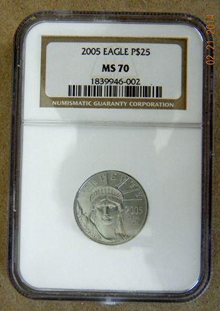 2005 American Eagle $25 Platinum Ncg Ms70 Key Date+price photo