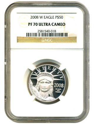 2008 - W Statue Liberty Platinum Eagle $50 Ngc Proof 70 Ucam - 1/2 Oz.  Platinum photo