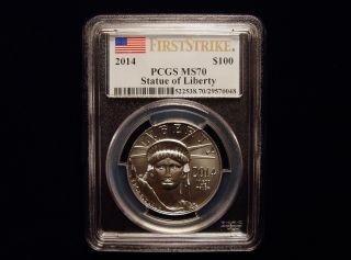 2014 Pcgs Ms70 $100 First Strike 1oz ' Statue Of Liberty ' Platinum Eagle photo
