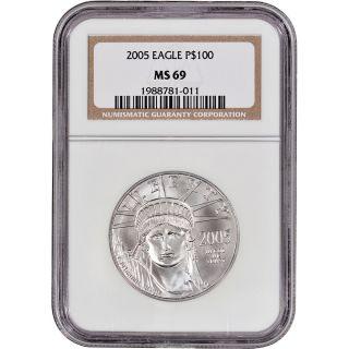 2005 American Platinum Eagle (1 Oz) $100 - Ngc Ms69 photo