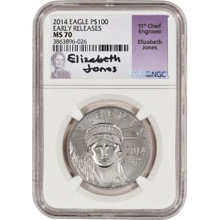2014 American Platinum Eagle (1 Oz) $100 - Ngc Ms70 - Early Releases Jones Signed photo