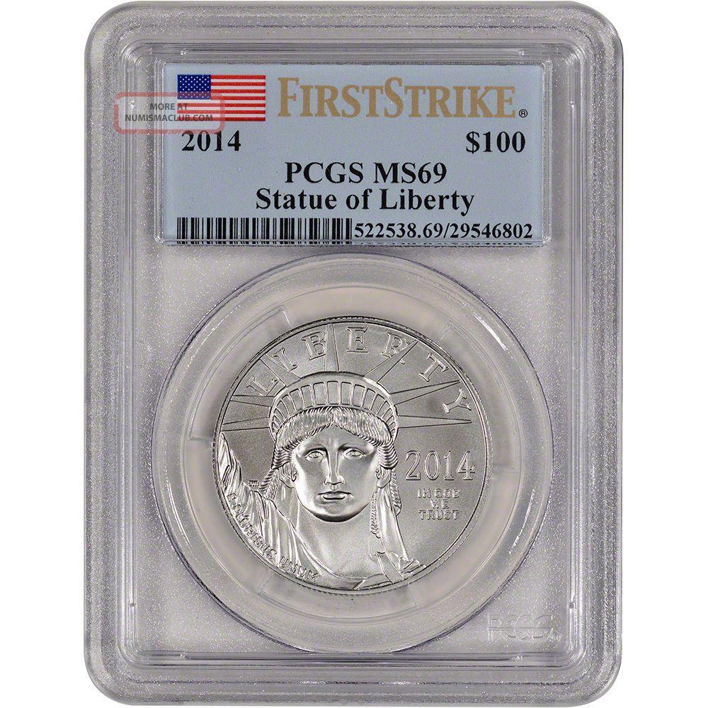 2014 American Platinum Eagle (1 Oz) $100 - Pcgs Ms69 - First Strike Platinum photo