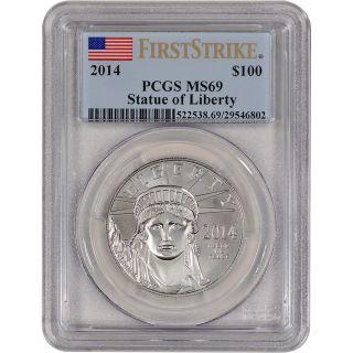 2014 American Platinum Eagle (1 Oz) $100 - Pcgs Ms69 - First Strike photo