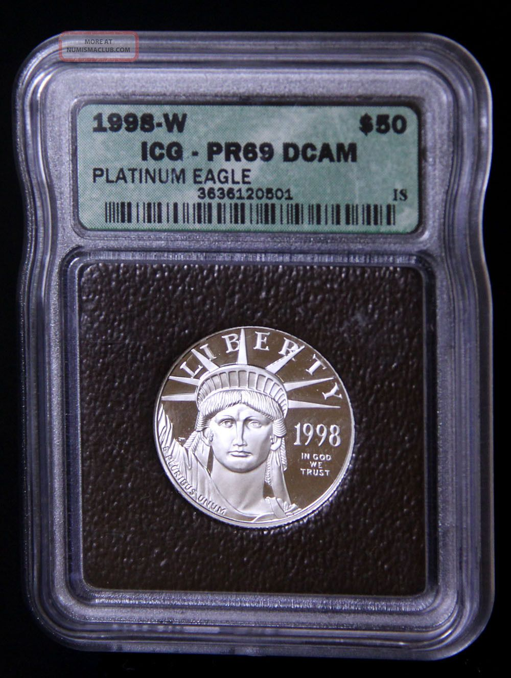 1998 - W $50 1/2 Oz Platinum Eagle Pr69 Platinum photo