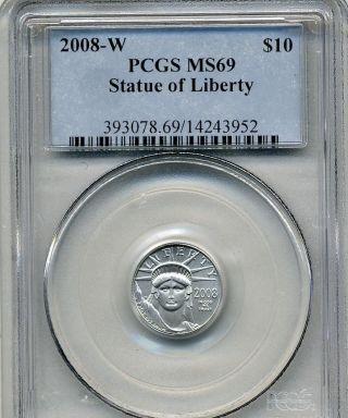 United States 2008 W Burnished $10 Platinum 1/10 Oz Pcgs Ms69 photo