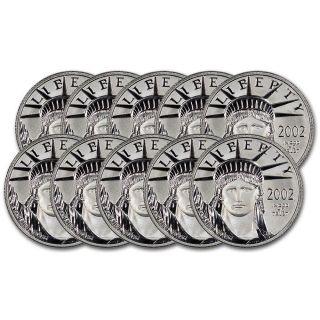 10 - Pc.  American Platinum Eagle (1/4 Oz) $25 - Bu - Random Date photo