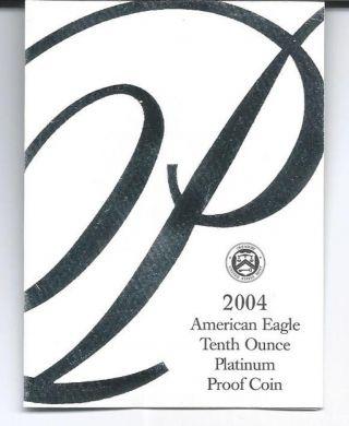 2004 W Platinum 1/10 Oz American Eagle & photo