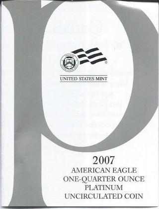 2007 W Platinum Uncirculated 1/4 Oz American Eagle & photo