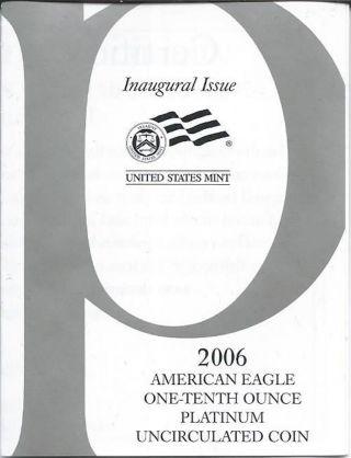 2006 W Platinum Uncirculated 1/10 Oz American Eagle & photo