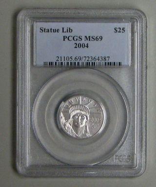 American Eagle Platinum Coin 1/4 Oz Pcgs Ms 69 2004 photo