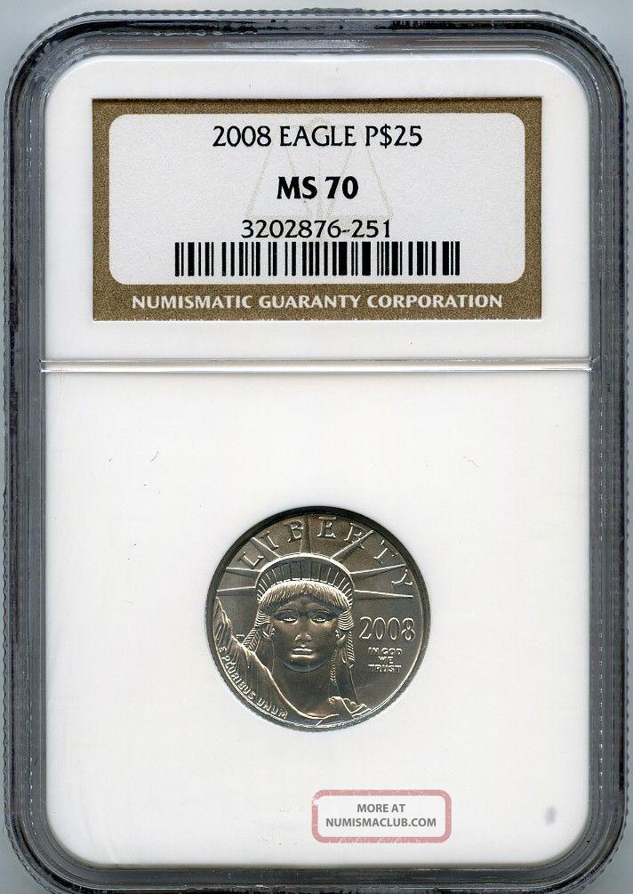 2008 $25 (1/4 Oz) State Platinum Eagle Ngc Ms70 Platinum photo