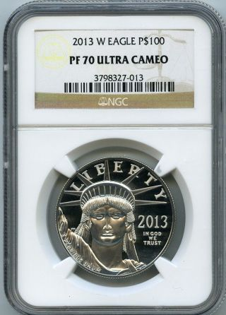 2013 - W $100 (1 Oz. ) Proof 70 Platinum Eagle Ngc Pf70 Ucam Pr70 photo