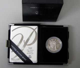 2002 W American Eagle 1 Oz Platinum Proof Coin Box & photo