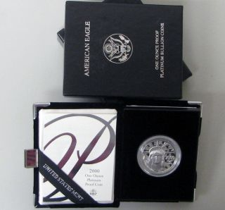 2000 W American Eagle 1 Oz Platinum Proof Coin Box & photo