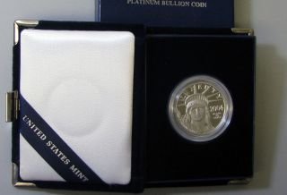 2004 W American Eagle One Ounce Platinum Proof Coin Box & photo