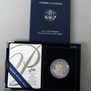 2006 W American Eagle 1 Oz Platinum Proof Coin Box & photo