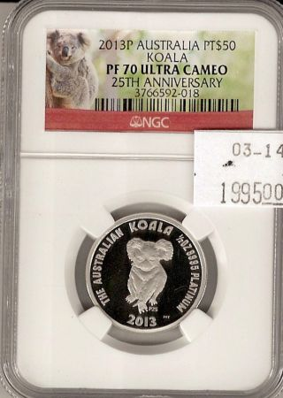 2013p Australia Koala 25th Anniversary Platinum 1/2 Oz.  999 Pf70 Ultra Cameo Ngc photo