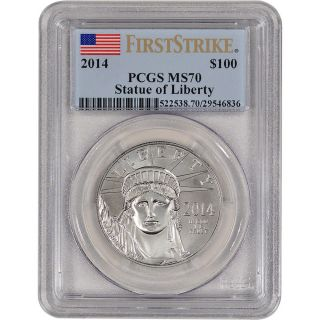 2014 American Platinum Eagle (1 Oz) $100 - Pcgs Ms70 - First Strike photo