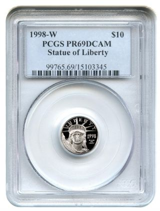 1998 - W Platinum Eagle $10 Pcgs Proof 69 Dcam Statue Liberty 1/10 Oz photo
