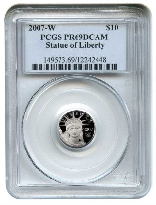 2007 - W Platinum Eagle $10 Pcgs Proof 69 Dcam Statue Liberty 1/10 Oz photo