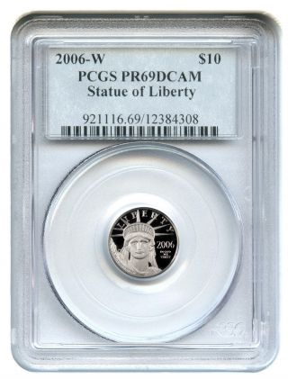 2006 - W Platinum Eagle $10 Pcgs Proof 69 Dcam Statue Liberty 1/10 Oz photo