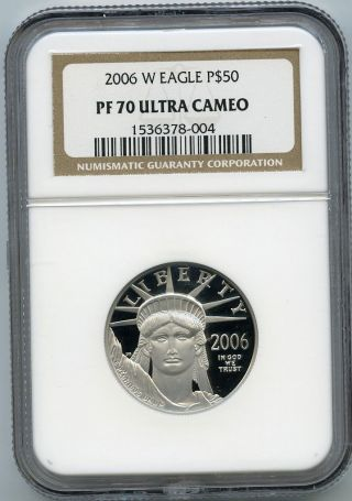 2006 - W $50 (1/2 Oz. ) Proof 70 Platinum Eagle Ngc Pf 70 Ucam photo