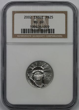 2002 Quarter - Ounce Platinum Eagle $25 Ms 69 Ngc photo