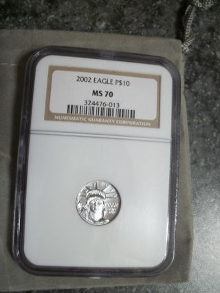 2002 $10 Platinum Eagle Ms70,  Ngc photo