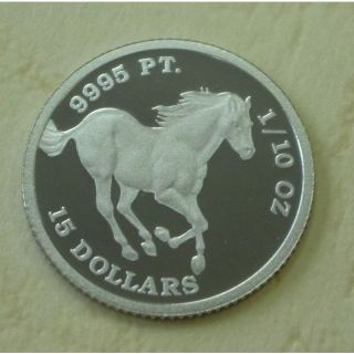 Platinum Tuvalu Horse Coin Platinum Coin 1/10 Oz Pure Platinum Grade,  Ic photo