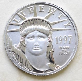 1997 Made In United States Pure Platinum Grade Eagle Coin Money 99.  95% 1/10oz,  Ic photo