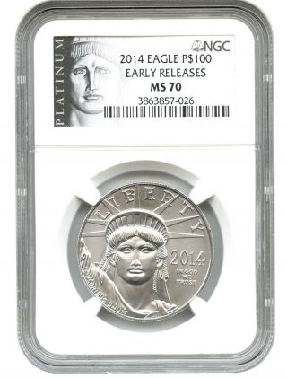 2014 Platinum Eagle $100 Ngc Ms70 (early Releases) Statue Liberty 1 Oz photo