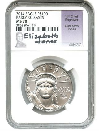 2014 Platinum Eagle $100 Ngc Ms70 (early Releases,  Elizabeth Jones Sig) 1 Oz photo