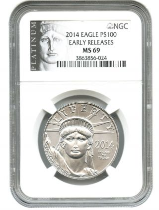 2014 Platinum Eagle $100 Ngc Ms69 (early Releases) Statue Liberty 1 Oz photo