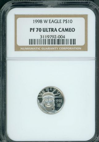 1998 - W $10 Platinum Eagle 1/10 Oz.  Statue Of Liberty Ngc Pf70 Proof Pr70 photo