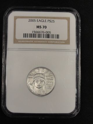 2005 $25 1/4 Perfect Platinum Eagle Ngc Ms70 6 - 005 photo