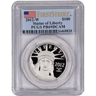 2012 - W American Platinum Eagle Proof (1 Oz) $100 - Pcgs Pr69 Dcam First Strike photo