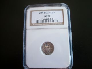 2003 $10 Platinum Eagle Ms70,  Ngc photo
