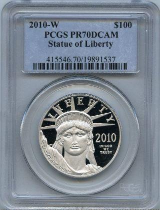 2010 - W $100 (1 Oz. ) Proof 70 Platinum Eagle Pcgs Pr70 Pf 70 Dcam photo