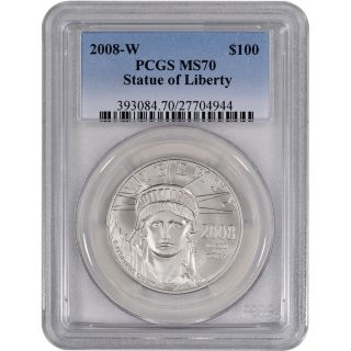 2008 - W American Platinum Eagle (1 Oz) $100 - Pcgs Ms70 - Burnished photo