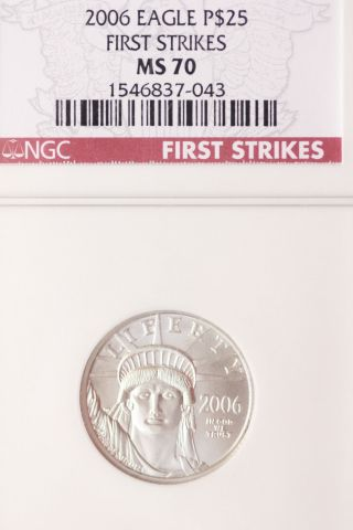 United States Platinum $25,  2006 Eagle Ms 70 First Strikes photo